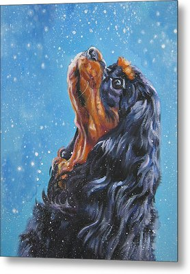 Cavalier King Charles Spaniel Black And Tan In Snow Metal Print by Lee Ann Shepard