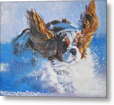 Cavalier King Charles Spaniel Blenheim In Snow Metal Print by Lee Ann Shepard