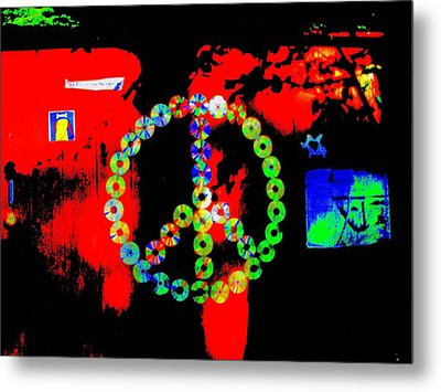 Cd Peace Cycle Metal Print by Connie Valasco
