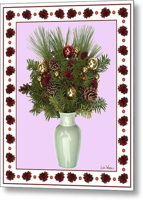 Celadon Vase With Christmas Bouquet Metal Print by Lise Winne