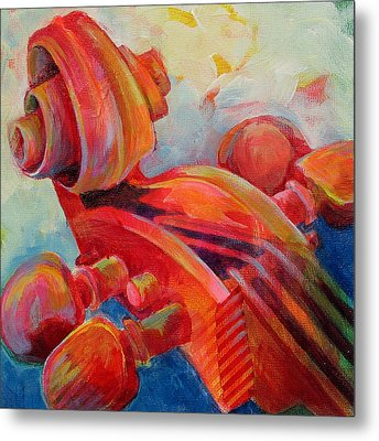 Cello Head In Red Metal Print by Susanne Clark