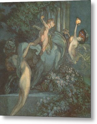 Centaur Nymphs And Cupid Metal Print by Franz von Bayros