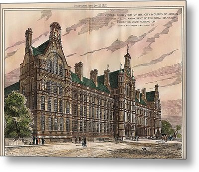 Central Institution Of The Cityy And Guilds Of London And Technical Education. London. 1881 Metal Print by Alfred Waterhouse
