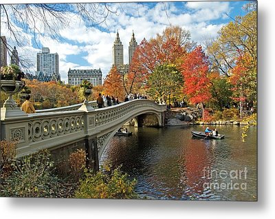 Central Park Autumn Cityscape Metal Print by Allan Einhorn