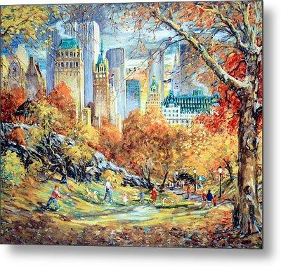 Central Park Fall Metal Print by Kamil Kubik