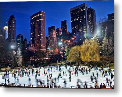 Central Park Skaters Metal Print by June Marie Sobrito