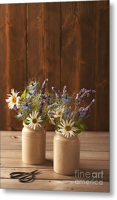 Ceramic Pots Filled With Flowers Metal Print by Amanda And Christopher Elwell