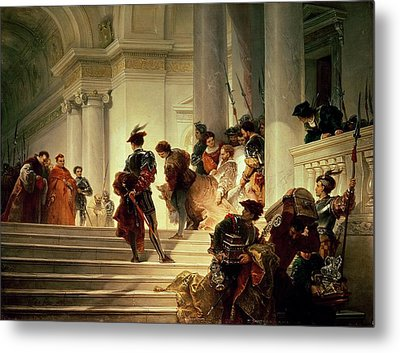 Cesare Borgia Leaving The Vatican Metal Print by Giuseppe Lorenzo Gatteri