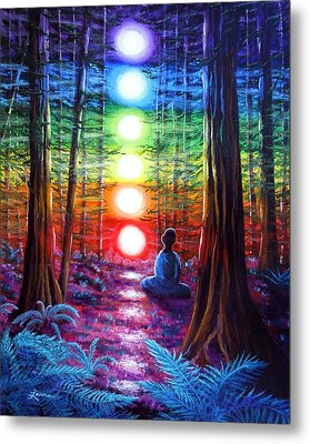 Chakra Meditation In The Redwoods Metal Print by Laura Iverson