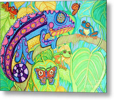 Chamelion And Rainforest Frogs Metal Print by Nick Gustafson