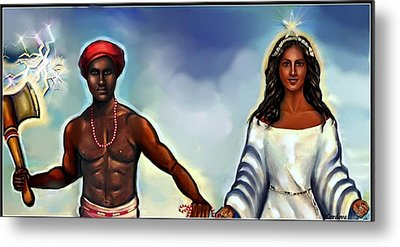 Chango And Yemaya Together Metal Print by Carmen Cordova