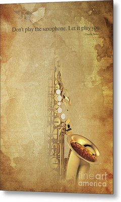 Charlie Parker Saxophone Brown Vintage Poster And Quote, Gift For Musicians Metal Print by Pablo Franchi