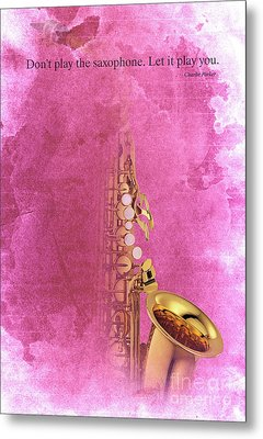 Charlie Parker Saxophone Light Red Vintage Poster And Quote, Gift For Musicians Metal Print by Pablo Franchi