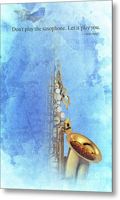Charlie Parker Saxophone Vintage Poster And Quote, Gift For Musicians Metal Print by Pablo Franchi