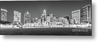 Charlotte Skyline At Night Panorama In Black And White Metal Print by Paul Velgos