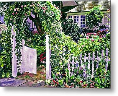 Charming Cottage Gate Metal Print by David Lloyd Glover