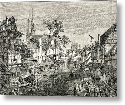 Chartres, France In The 19th Century Metal Print by Vintage Design Pics