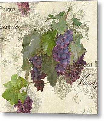Chateau Pinot Noir Vineyards - Vintage Style Metal Print by Audrey Jeanne Roberts