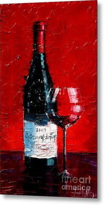 Still Life With Wine Bottle And Glass I Metal Print by Mona Edulesco