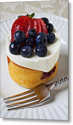 Cheese Cream Cake With Fruit Metal Print by Garry Gay