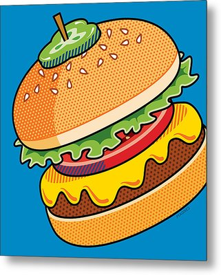 Cheeseburger On Blue Metal Print by Ron Magnes