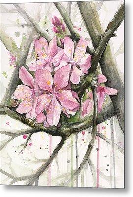 Cherry Blossom Metal Print by Olga Shvartsur