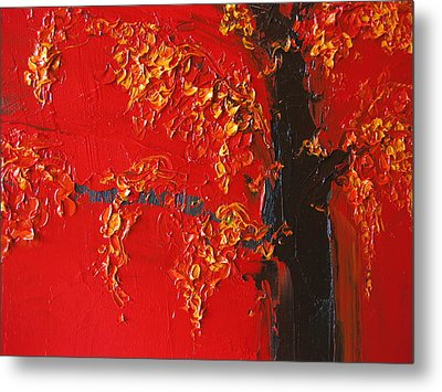 Cherry Blossom Tree - Red Yellow Metal Print by Patricia Awapara