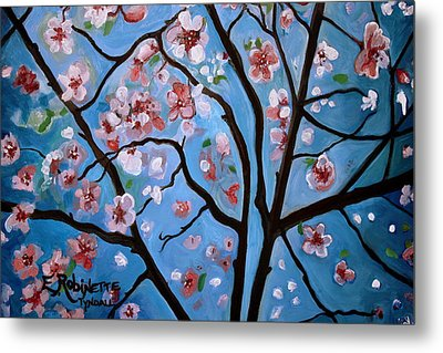 Cherry Blossoms In Bloom Metal Print by Elizabeth Robinette Tyndall