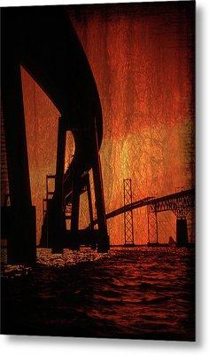 Chesapeake Bay Bridge Artistic Metal Print by Skip Willits