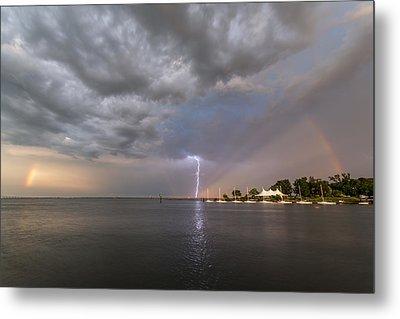 Chesapeake Bay Rainbow Lighting Metal Print by Jennifer Casey