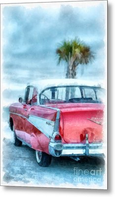 Chevy Belair At The Beach Watercolor Metal Print by Edward Fielding