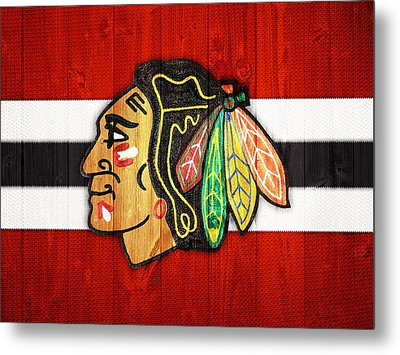 Chicago Blackhawks Barn Door Metal Print by Dan Sproul