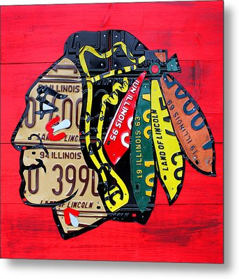 Chicago Blackhawks Hockey Team Vintage Logo Made From Old Recycled Illinois License Plates Red Metal Print by Design Turnpike