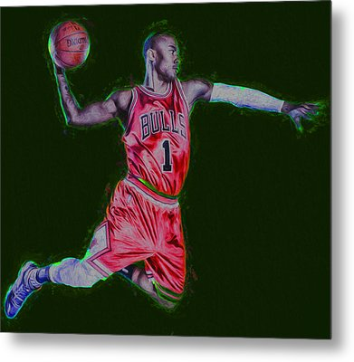 Chicago Bulls Derrick Rose Painted Digitally Red Metal Print by David Haskett