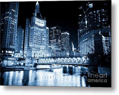 Chicago Downtown Loop At Night Metal Print by Paul Velgos