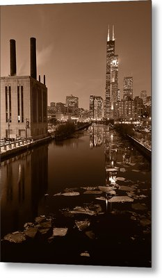 Chicago River B And W Metal Print by Steve Gadomski