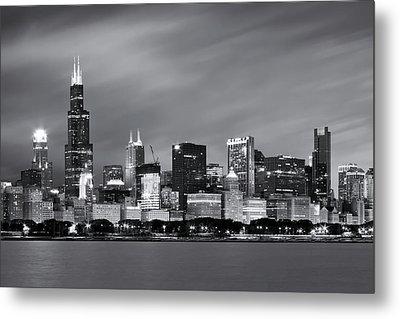 Chicago Skyline At Night Black And White  Metal Print by Adam Romanowicz