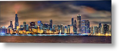 Chicago Skyline At Night Panorama Color 1 To 3 Ratio Metal Print by Jon Holiday
