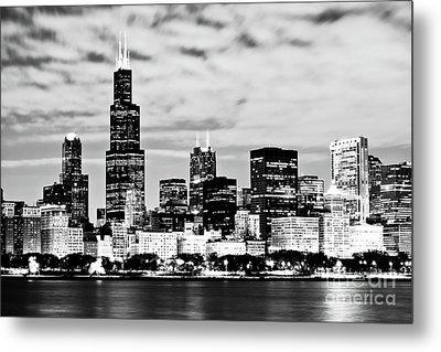 Chicago Skyline At Night Metal Print by Paul Velgos