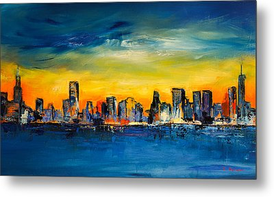 Chicago Skyline Metal Print by Elise Palmigiani