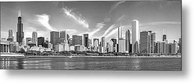 Chicago Skyline Panorama Black And White Metal Print by Christopher Arndt