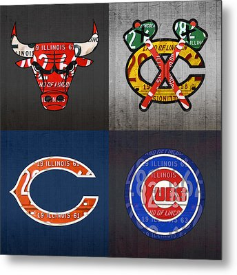 Chicago Sports Fan Recycled Vintage Illinois License Plate Art Bulls Blackhawks Bears And Cubs Metal Print by Design Turnpike