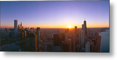 Chicago Sunset, Aerial View, Illinois Metal Print by Panoramic Images