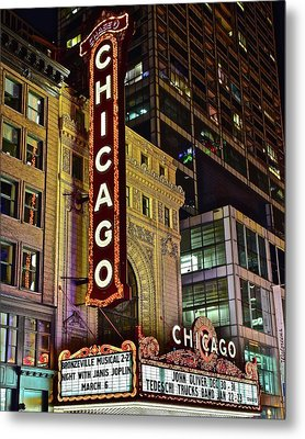 Chicago Theater Aglow Metal Print by Frozen in Time Fine Art Photography