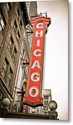 Chicago Theater Sign Marquee Metal Print by Paul Velgos