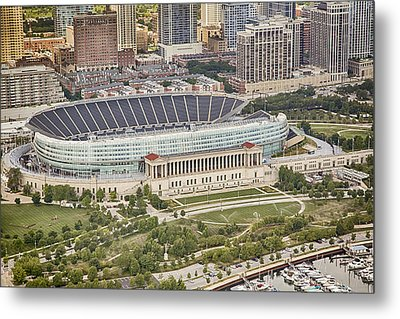 Chicago's Soldier Field Aerial Metal Print by Adam Romanowicz
