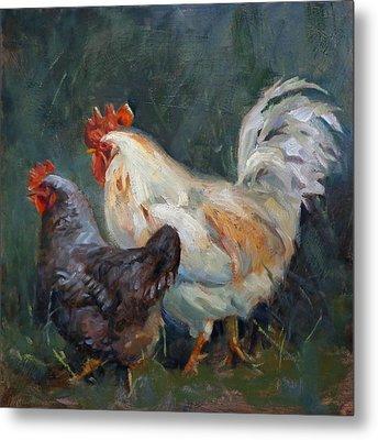 Chicken Tales Metal Print by Donna Shortt