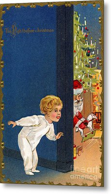 Child Listens As Santa Places Gifts By The Tree On Christmas Eve Metal Print by American School