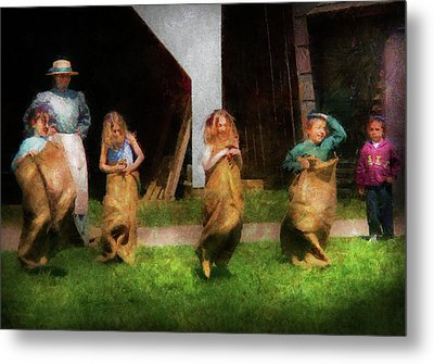 Children - The Sack Race  Metal Print by Mike Savad