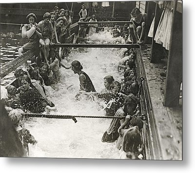Children Getting Swim Lessons Metal Print by Underwood Archives
